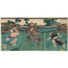 歌川国芳: Satô Masakiyo Defeats Two Drunken Rônin as Fierce as Tigers (Satô Masakiyo suikyô no rônin ryôko no yû o torihishigu zu) - ボストン美術館