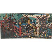 Utagawa Kuniyoshi: Tsûzoku Sangokushi no uchi, Kan'u gokan o yaburu no zu - Museum of Fine Arts