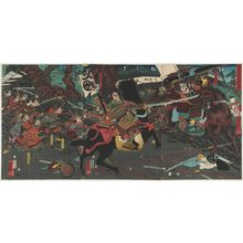 Utagawa Kuniyoshi: Fierce Combat at the Battle of Kurikaradani (Kurikaradani yûsen no zu) - Museum of Fine Arts