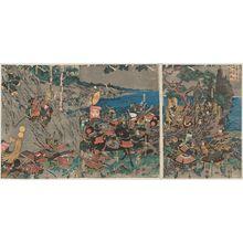 Utagawa Kuniyoshi: (Zushû Ishibashiyama Tobi no take ni Minamoto no Yoritomo seijû shichiki gaboku ni naka ni kakure zu) - Museum of Fine Arts