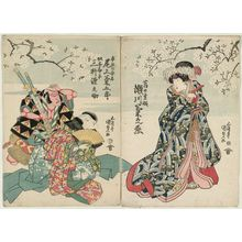 Utagawa Kunisada: Actors Segawa Kikunojô V as Kuzunoha-hime (R) Onoe Kikugorô III as Abe no Yasuna, and Mimasu Gennosuke I as Yakko Yokanbei (L) - Museum of Fine Arts