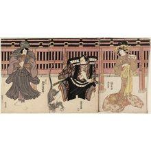 Utagawa Kunisada: Actors Sawamura Tanosuke (R), Bandô Hikosaburô (C), and Matsumoto Kôshirô (L) - Museum of Fine Arts