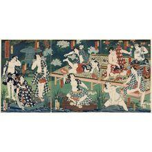 Toyohara Kunichika: Parody of the Drinking Party at Ôeyama with Flowers of Chivalry (Mitate Ôeyama ... no sakamori) - Museum of Fine Arts