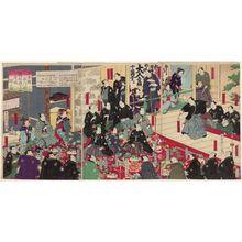 Toyohara Kunichika: Illustration of the Opening of the Upper Story of the Manrin House on Shinagawa-gai in Nihonbashi District (Nihonbashi Shinagawa-gai Manrin-rô jô zashiki-biraki no zu) - Museum of Fine Arts