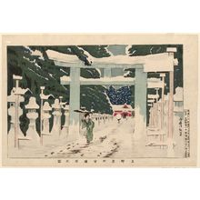 小林清親: Heavy Snow at the Tôshôgû Shrine in Ueno (Ueno Tôshôgû sekisetsu no zu) - ボストン美術館