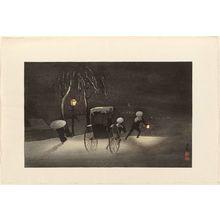 小林清親: Jinrikisha on a Snowy Night - ボストン美術館