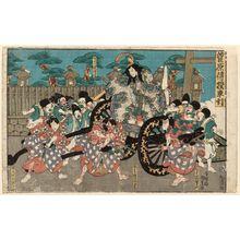 Utagawa Kunisada: Sugawara Denju kurumabiki: Actors Nakamura Utaemon IV as Matsuômaru, Ichikawa Ebizô V as Umeômaru, Arashi Kichisaburô III as Shihei kô, Sawamura Tosshô I as Sakuramaru - Museum of Fine Arts