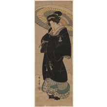 Utagawa Kuniyasu: Woman with Black Coat and Umbrella Walking in Snow - Museum of Fine Arts