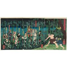Utagawa Yoshikazu: The Last Stand of Kiso Yoshinaka at Awazu (Kiso Yoshinaka Awazu ochi no zu) - Museum of Fine Arts