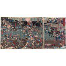 歌川芳員: The Night Attack at Horikawa in Rokujô on the 17th Day of the 9th Month, 1185 (Bunji gannen kugatsu jûshichinichi Rokujô Horikawa youchi no zu) - ボストン美術館