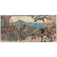 Utagawa Yoshikazu: Kajiwara Kagetoki in Battle - Museum of Fine Arts