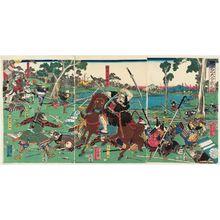 Utagawa Yoshikazu: A Great Battle from the Taiheiki (Taiheiki ôgassen no zu) - Museum of Fine Arts