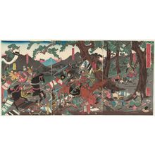 Utagawa Yoshikazu: The Great Battle of the Koromo River in Mutsu Province in the Ninth Month of 1062 during the Earlier Nine-year War (Zen kunen no uchi Kôhei gonen kugatsu Ôshû Koromogawa ôgassen) - Museum of Fine Arts