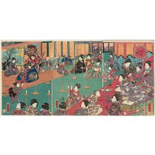 Utagawa Kuniteru: Spring Festivities at the Palace of Flowers (Hana no goten yayoi no nigiwai) - Museum of Fine Arts