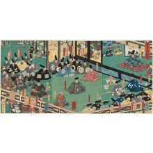 Utagawa Yoshikazu: Great Assembly at Kamakura (Kamakura dai hyôjô) - Museum of Fine Arts
