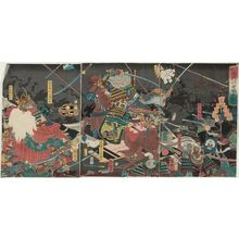 Utagawa Kuniteru: Complete View of the Great Battle between the Two Generals of Kai Province and Echigo Province at Kawanakajima (Kôetsu ryôshô Kawanakajima ôtatakai, zen) - Museum of Fine Arts