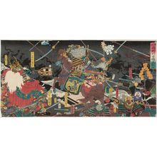 歌川国輝: Complete View of the Great Battle between the Two Generals of Kai Province and Echigo Province at Kawanakajima (Kôetsu ryôshô Kawanakajima ôtatakai, zen) - ボストン美術館