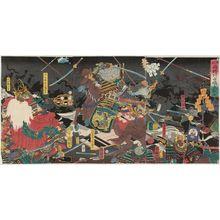 歌川国輝: Complete View of the Great Battle between the Two Generals of Kai Province and Echigo Province at Kawanakajima (Kôetsu ryôshô Kawanakajima ôtatakai, zen) - ボストン美術館