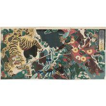歌川国輝: Satô Masakiyo on a Tiger Hunt (Satô Masakiyo toragari no zu) - ボストン美術館