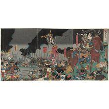 Utagawa Kuniteru: The Death in Battle of Katsuyori on Mount Tenmoku (Tenmokuzan Katsuyori uchijini no zu) - Museum of Fine Arts