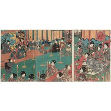 歌川国輝: Spring Festivities at the Palace of Flowers (Hana no goten yayoi no nigiwai) - ボストン美術館