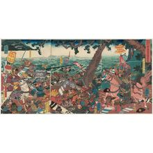 歌川芳員: Nitta Yoshisada's Battle at Kamakura in the Fifth Month of 1332 (Genkô ninen gogatsu Nitta Yoshisada Kamakura kassen) - ボストン美術館