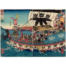 歌川芳艶: The Nineteen Retainers of Yoshitsune (Yoshitsune jûku shin) - ボストン美術館