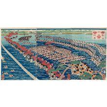 歌川芳艶: Lord Yoritomo and His Entourage Ford the Ôi River (Yoritomo kô Ôigawa gyôretsu [no] zu) - ボストン美術館