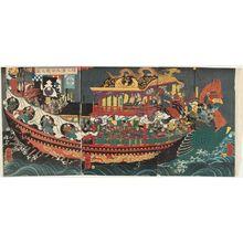 Utagawa Yoshitsuya: The Great Battle at Dan-no-ura (Dan-no-ura ôgassen no zu) - Museum of Fine Arts