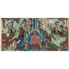 歌川芳艶: Minamoto Yorimitsu in the Ashigara Mountains (Minamoto Yorimitsu Ashigarayama-iri no zu) - ボストン美術館