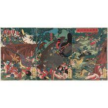 歌川芳艶: Minamoto Yoritomo's Hunting Party (Minamoto Yoritomo makigari no zu) - ボストン美術館
