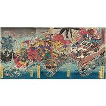 Utagawa Yoshitsuya: Yoshitsune Crossing the Sea at Daimotsu Bay (Daimotsu no ura Yoshitsune tokai no zu) - Museum of Fine Arts