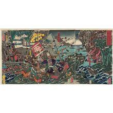 月岡芳年: The Death in Action of Musashi Gorô Sadayo at the Battle of Karashima in the Earlier Taiheiki (Zen Taiheiki Karashima kassen Musashi Gorô Sadayo uchijini no zu) - ボストン美術館