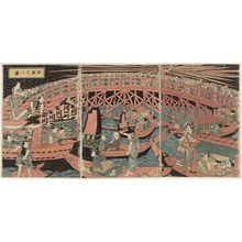 歌川国安: Fireworks at Ryôgoku Bridge (Ryôgoku hanabi no zu) - ボストン美術館