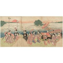 歌川国安: Procession of Women Passing Enoshima - ボストン美術館