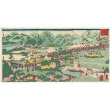 Utagawa Yoshitsuya: View of the Iwashimizu Hachiman Shrine (Iwashimizu Hachimangû fûkei zu) - Museum of Fine Arts