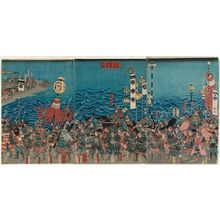 芳藤: Yoshitsune and His Forces Returning in Triumph after the Battle of Yashima (Yoshitsune Yashima shôgun kijin no zu) - ボストン美術館