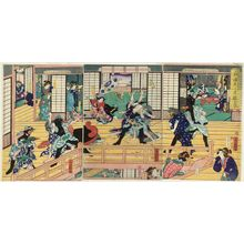 芳藤: Connoisseurs of the Yoshiwara: A Flourishing House of Pleasure / Birds at Play: A Commotion in the Birdcage (Asobi wa toridori kago no nigiwai) - ボストン美術館