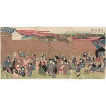 歌川国安: Prosperity of the Fish Market at Nihon-bashi (Nihon-bashi uoichi han'ei zu) - ボストン美術館