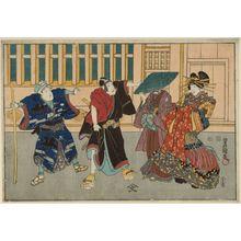 Utagawa Kunisada: Actors Bandô Shûka I as Keisei Agemaki, Ichikawa Omezô II as Soga no Mankô, Ichikawa Danjûrô VIII as Hanakawado Sukeroku jitsuwa Soga no Gorô, Ichikawa Komazô VII as Shirozakeuri Shinbei jitsuwa Soga no Jûrô - Museum of Fine Arts