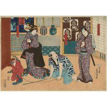 Utagawa Kunisada: Actors Ichikawa Danjûrô VIII as Izutsuya Denbei, Ichikawa Kodanji IV as Sarumawashi Yojirô, Bandô Shûka I as Geiko Oshiyun - Museum of Fine Arts