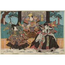 Utagawa Kunisada: Actors Sawamura Chôjûrô V as Abeno Sadatô, Arashi Kichisaburô III as Hachiman Tarô, Seki Sanjûrô III as Abeno Munetô - Museum of Fine Arts
