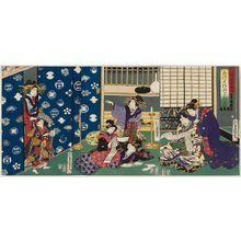 Utagawa Kunisada: Calligraphy (Sho), from the series Genji Parodies of the Four Accomplishments (Mitate Genji kinkishoga no uchi) - Museum of Fine Arts