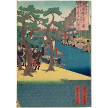 代長谷川貞信〈2〉: Accurate Depiction of the Foreign Legation on the Aji River in Osaka (Naniwa Ajikawa gaikokukan shinsha no zu) - ボストン美術館