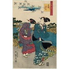 Utagawa Sadahide: The Jewel River of Plovers in Mutsu Province (Mutsu chidori), from the series Contest of Famous Places: The Six Jewel Rivers (Meisho awase Mu Tamagawa) - Museum of Fine Arts