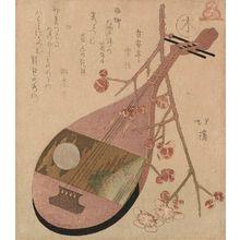 魚屋北渓: Wood (Ki): Lute and Plum Blossoms, from the series The FIve Elements (Gogyô) - ボストン美術館