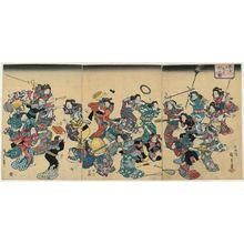 歌川広重: The Ancient Custom of Attacking the Concubine (Ôko uwanari-uchi no zu), second edition - ボストン美術館