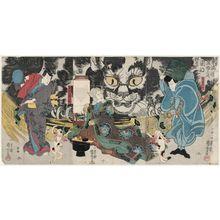 Utagawa Kuniyoshi: An Imaginary Scene of the Origin of the Cat Stone at Okazaki, from the Fifty-three Stations of the Tokaido Road (Mitate Tôkaidô gojûsan tsugi Okazaki neko ishi no yûrai) - Museum of Fine Arts