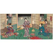 二代歌川国貞: Moon (Tsuki), from the series Moon, Snow, and Flowers (Getsusekka no uchi) - ボストン美術館
