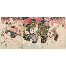 Utagawa Sadahide: Children at Play with a Flower Cart (Hanaguruma kodomo asobi) - Museum of Fine Arts